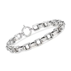 "Men's 8mm Sterling Silver Oval-Link Bracelet. 9"", , default"