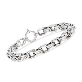 """Men's 8mm Sterling Silver Oval-Link Bracelet. 9"""", , default"""
