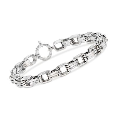 Men's 8mm Sterling Silver Oval-Link Bracelet, , default