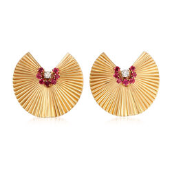 C. 1970 Vintage Tiffany Jewelry 1.00 ct. t.w. Ruby and .24 ct. t.w. Diamond Folded Fan Pins in 14kt Yellow Gold , , default