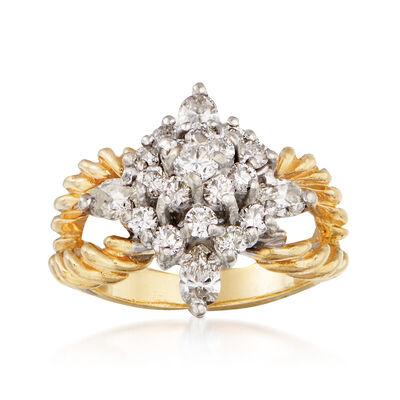 C. 1980 Vintage 1.60 ct. t.w. Diamond Cluster Split-Shank Ring in 14kt Yellow Gold