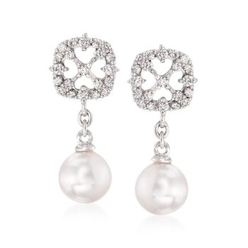 "Mikimoto ""Cherish"" 7mm A+ Akoya Pearl Drop Earrings With .45 ct. t.w. Diamonds in 18kt White Gold , , default"
