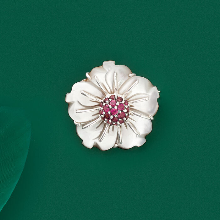 30mm Mother-Of-Pearl and 2.00 ct. t.w. Rhodolite Garnet Flower Pin in Sterling