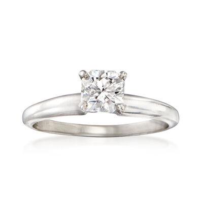 C. 1990 Vintage .50 Carat Diamond Elara Solitaire Ring in Platinum