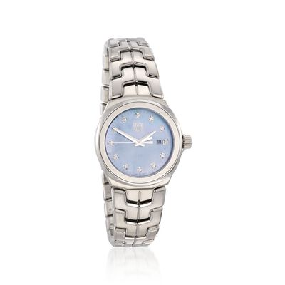 TAG Heuer Link Women's 32mm .12 ct. t.w. Diamond Watch in Stainless Steel with Blue Mother-Of-Pearl Dial, , default