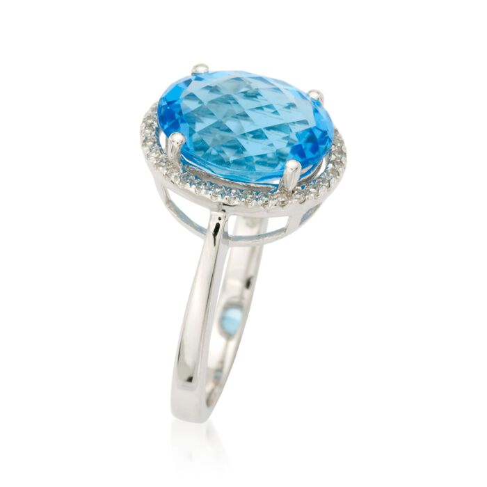 5.25 Carat Blue Topaz and .10 ct. t.w. Diamond Ring in 14kt White Gold