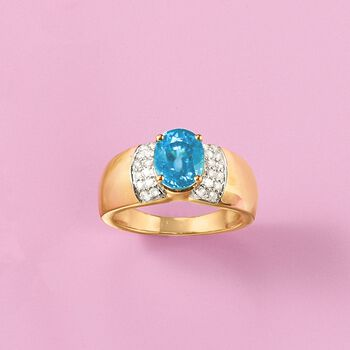 3.40 Carat Blue Zircon and .24 ct. t.w. Diamond Ring in 14kt Yellow Gold, , default
