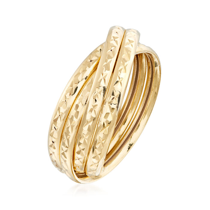 18kt Yellow Gold Multi-Band Crisscross Ring