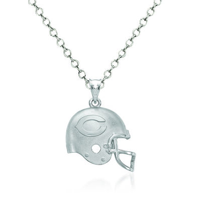 "Sterling Silver Chicago Bears Football Helmet Logo Pendant Necklace. 18"", , default"