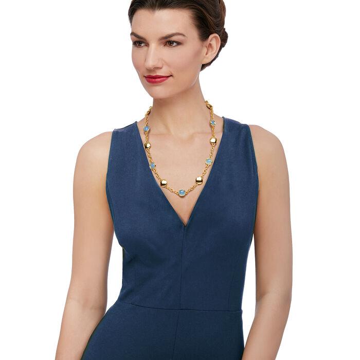"Italian Andiamo Blue Chalcedony Bezel Set Necklace in 14kt Yellow Gold. 23"", , default"