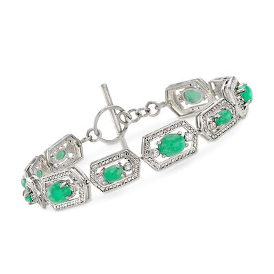 13.00 ct. t.w. Emerald and .40 ct. t.w. White Zircon Toggle Bracelet in Sterling Silver, , default