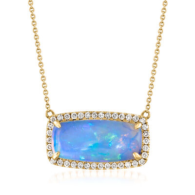 White Opal and .41 ct. t.w. Diamond Rectangle Frame Necklace in 14kt Yellow Gold