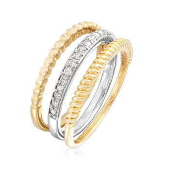 .20 ct. t.w. Diamond Jewelry Set: Three Rings in Sterling Silver and 18kt Gold Over Sterling. Size 5, , default