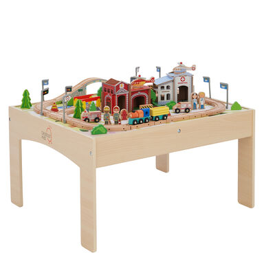 Child's 85-pc. Train and Table Set in Beech