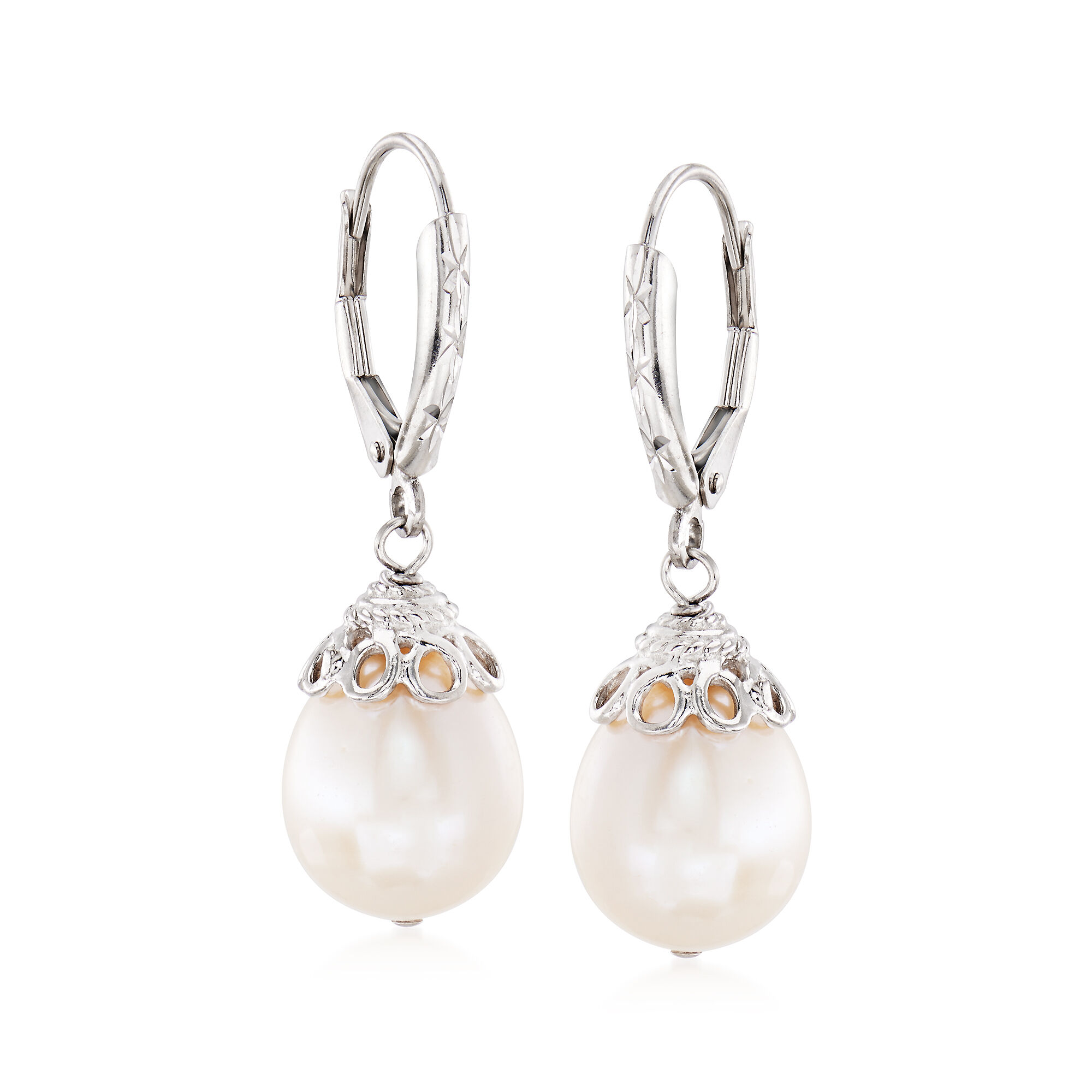 Sterling Silver 10-11mm Freshwater Cultured Button Pearl with White Topaz Earrings