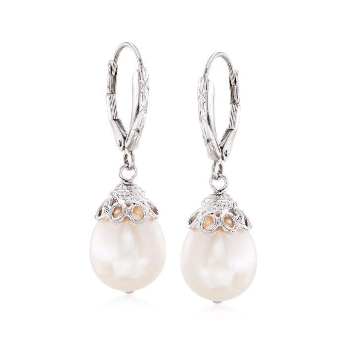 10-11mm Cultured Pearl Drop Earrings in Sterling Silver, , default