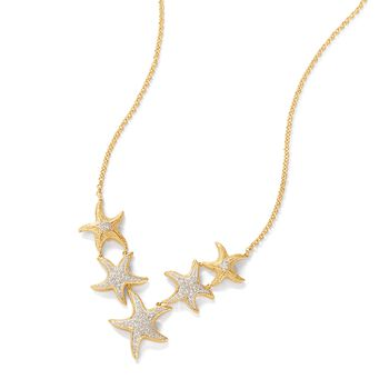 .20 ct. t.w. Pave Diamond Starfish Necklace in 18kt Gold Over Sterling, , default
