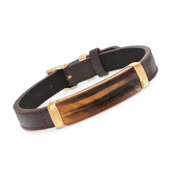 Men's Tiger's Eye Brown Leather Bracelet With Stainless Steel. Adjustable Size, , default