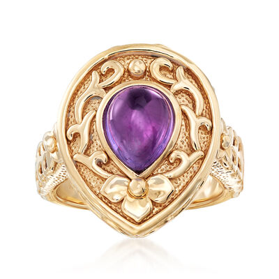 2.10 Carat Amethyst Ring in 14kt Yellow Gold, , default