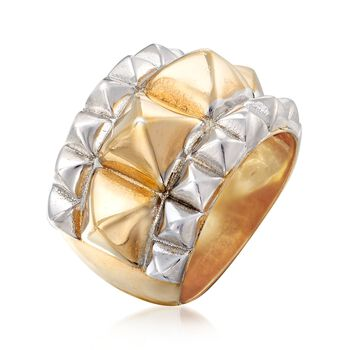 Two-Tone Sterling Silver Pyramid Ring, , default