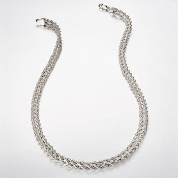 Sterling Silver Double Rope Chain Necklace, , default