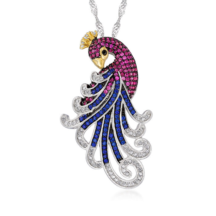 .37 ct. t.w. CZ and Multi-Gem Peacock Pendant Necklace in Sterling Silver