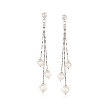 6.5-9mm Cultured Pearl Chain Earrings in Sterling Silver, , default