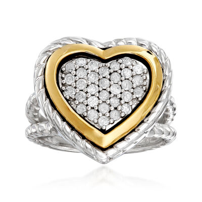 .50 ct. t.w. Diamond Heart Ring in Sterling Silver and 18kt Yellow Gold, , default