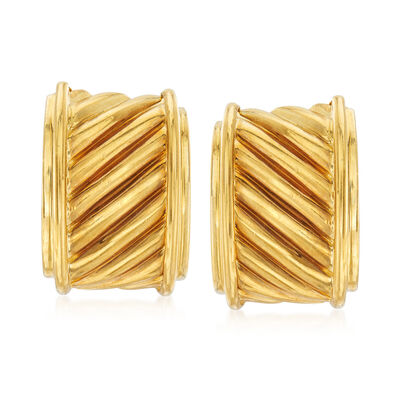 C. 1980 Vintage David Yurman 18kt Yellow Gold Diagonal Ridged Earrings