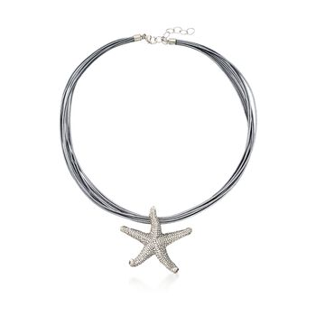"Sterling Silver Starfish Pendant Necklace on Silver Leather Cord. 18"", , default"