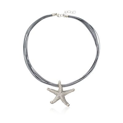 Sterling Silver Starfish Pendant Necklace on Silver Leather Cord, , default