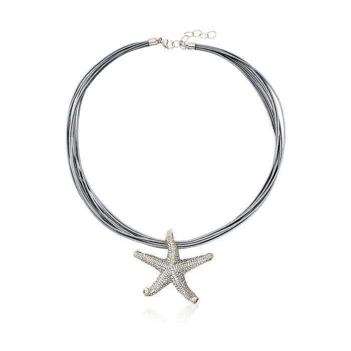 """Sterling Silver Starfish Pendant Necklace on Silver Leather Cord. 18"""", , default"""