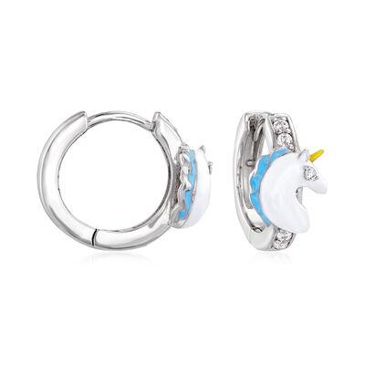 Multicolored Enamel and .10 ct. t.w. CZ Unicorn Hoop Earrings in Sterling Silver