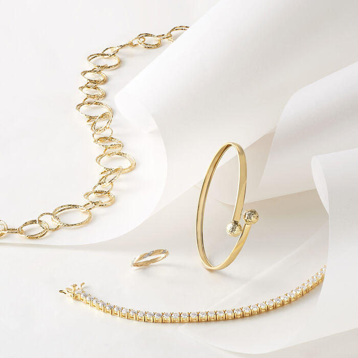 10.00 ct. t.w. CZ Tennis Bracelet in 14kt Gold Over Sterling