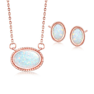 Synthetic Opal Jewelry Set: Earrings and Necklace in 18kt Rose Gold Over Sterling Silver, , default