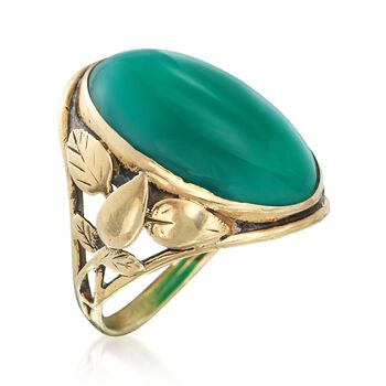 C. 1912 Vintage Bezel-Set Green Chalcedony Ring in 14kt Yellow Gold. Size 5, , default
