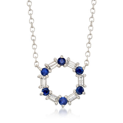.40 ct. t.w. Sapphire and .15 ct. t.w. Diamond Circle Drop Necklace in 14kt White Gold, , default