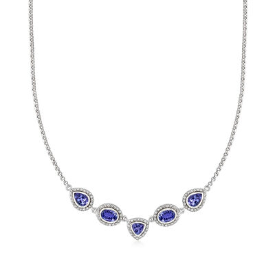 3.50 ct. t.w. Tanzanite and .95 ct. t.w. White Zircon Necklace in Sterling Silver