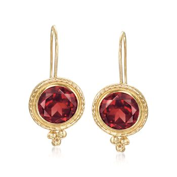 "2.00 ct. t.w. Garnet Drop Earrings 14kt Yellow Gold. 5/8"", , default"