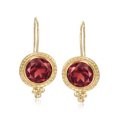 2.00 ct. t.w. Garnet Drop Earrings 14kt Yellow Gold, , default