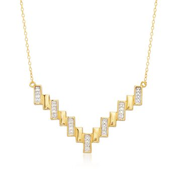 .10 ct. t.w. Diamond V-Necklace in Two-Tone Sterling Silver, , default