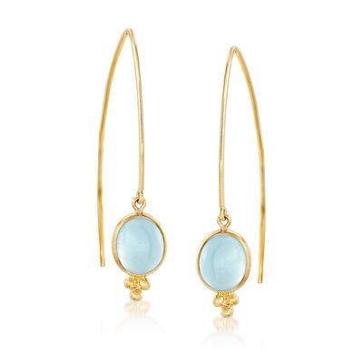 Mazza 6.40 ct. t.w. Aquamarine Drop Earrings in 14kt Yellow Gold