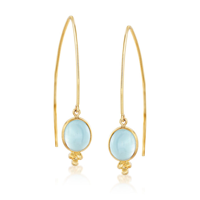 Mazza 6.40 ct. t.w. Aquamarine Drop Earrings in 14kt Yellow Gold