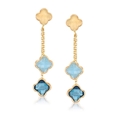Italian 1.90 ct. t.w. London Blue Topaz and 1.40 ct. t.w. Aquamarine Flower Drop Earrings in 14kt Yellow Gold, , default