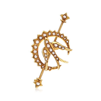 C. 1930 Vintage Cultured Pearl Crescent Moon Bird Pin in 14kt Yellow Gold, , default