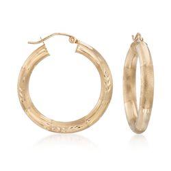 "14kt Yellow Gold Multi-Finish Hoop Earrings. 1 1/4"", , default"