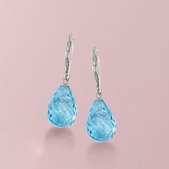 15.00 ct. t.w. Blue Topaz Drop Earrings in Sterling Silver