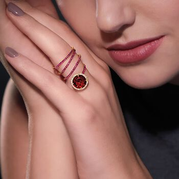 4.40 Carat Garnet and .50 ct. t.w. Ruby Coil Ring With Diamonds in 14kt Yellow Gold, , default