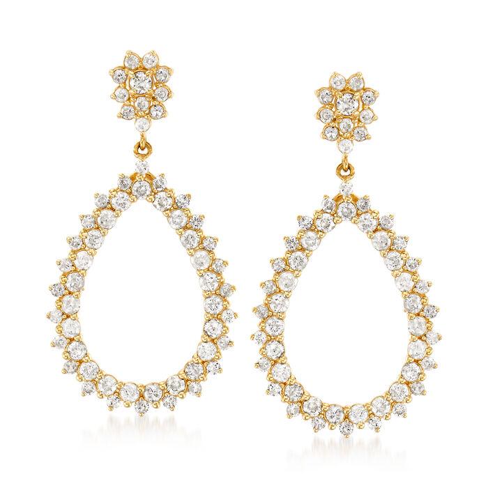 1.50 ct. t.w. Diamond Open-Teardrop Earrings in 14kt Yellow Gold, , default