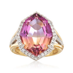10.00 Carat Multicolored Quartz and .50 ct. t.w. White Topaz Ring in Two-Tone Sterling, , default